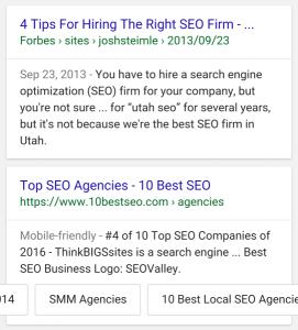 nuevos enlaces a sitios sitelinks Google
