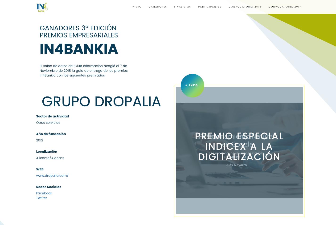 DROPALIA, GANADORA DEL PREMIO INDICEX 2018
